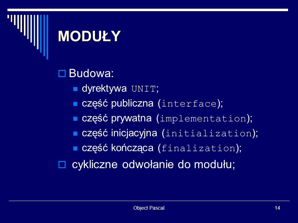 MODUŁY Budowa: cykliczne odwołanie do modułu; dyrektywa UNIT;