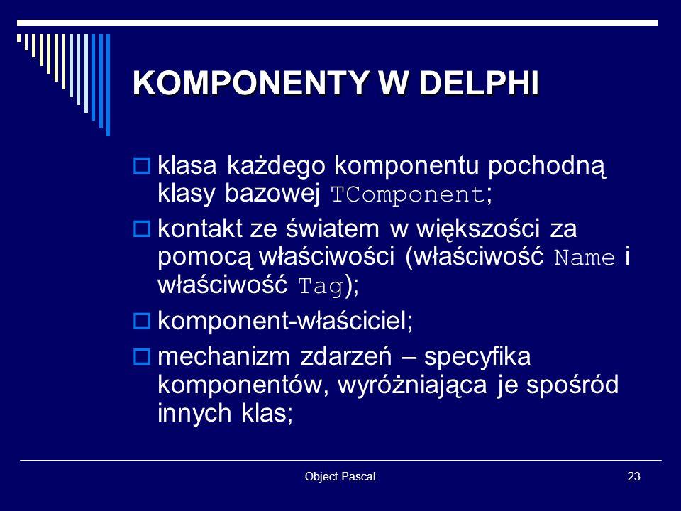 KOMPONENTY W DELPHIklasa każdego komponentu pochodną klasy bazowej TComponent;