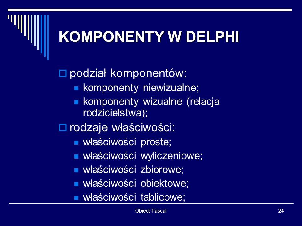 KOMPONENTY W DELPHI podział komponentów: rodzaje właściwości: