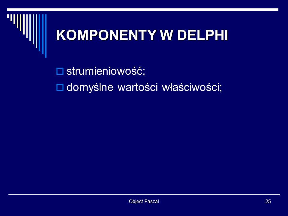 KOMPONENTY W DELPHI strumieniowość; domyślne wartości właściwości;