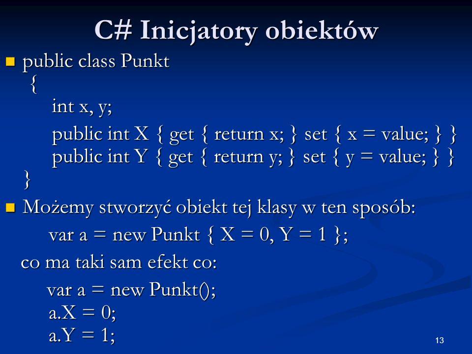 C# Inicjatory obiektów