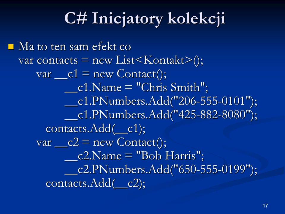 C# Inicjatory kolekcji
