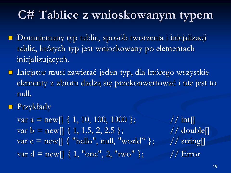 C# Tablice z wnioskowanym typem