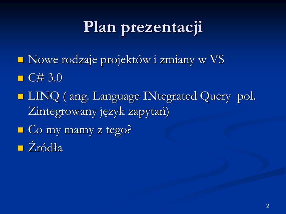 Plan prezentacji Nowe rodzaje projektów i zmiany w VS C# 3.0