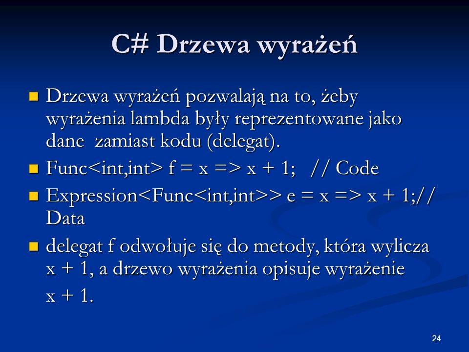 C# Drzewa wyrażeń Drzewa wyrażeń pozwalają na to, żeby wyrażenia lambda były reprezentowane jako dane zamiast kodu (delegat).