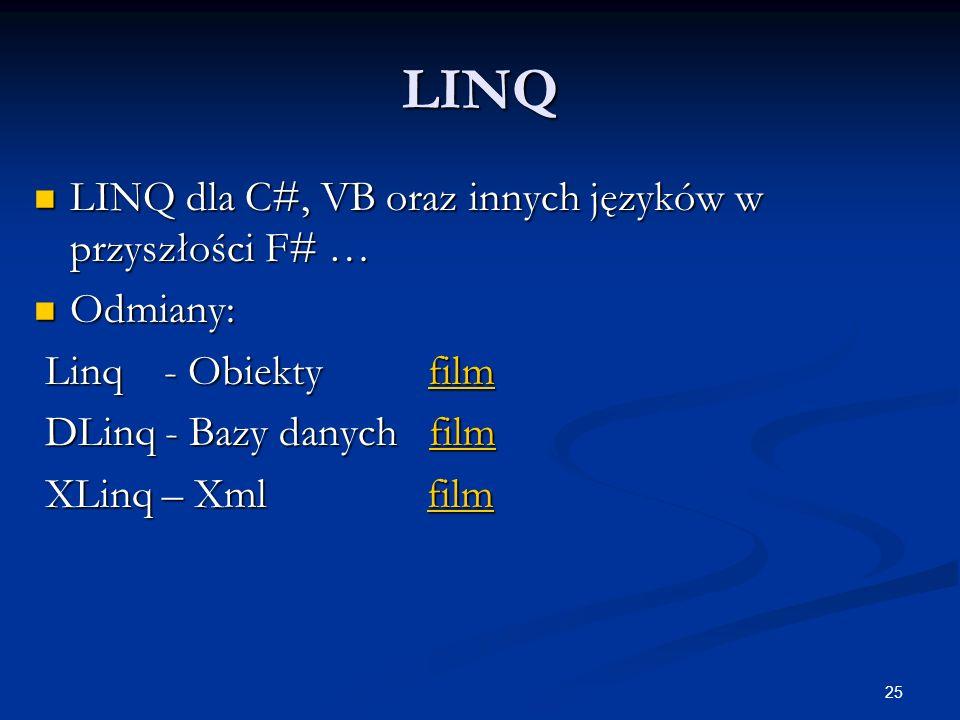 LINQ LINQ dla C#, VB oraz innych języków w przyszłości F# … Odmiany: