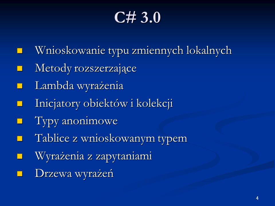 C# 3.0 Wnioskowanie typu zmiennych lokalnych Metody rozszerzające