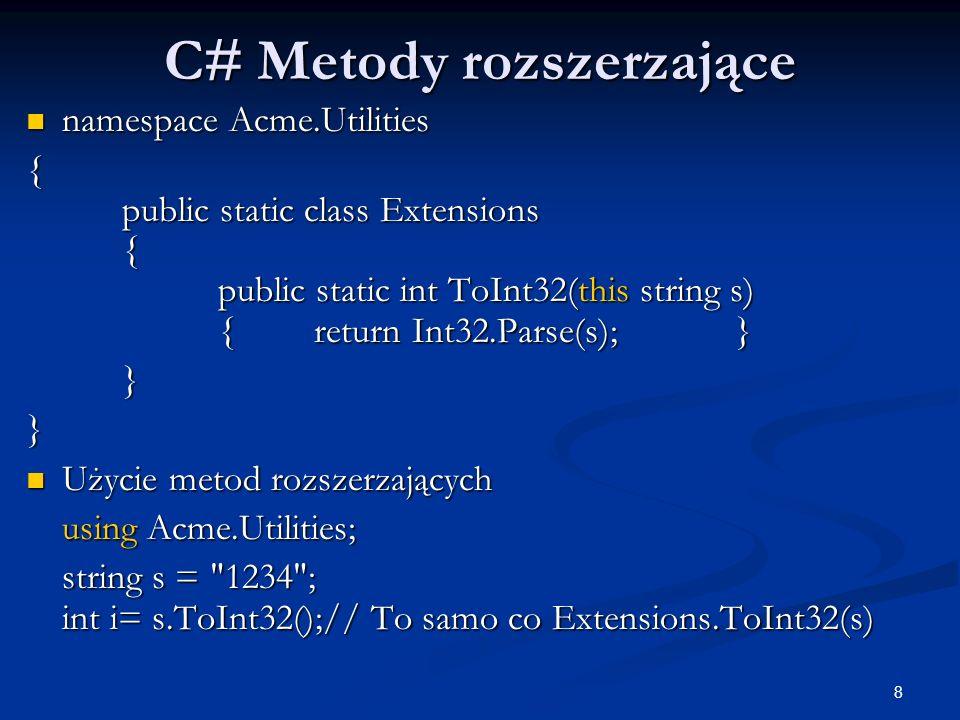 C# Metody rozszerzające