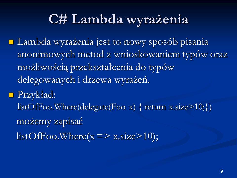 C# Lambda wyrażenia