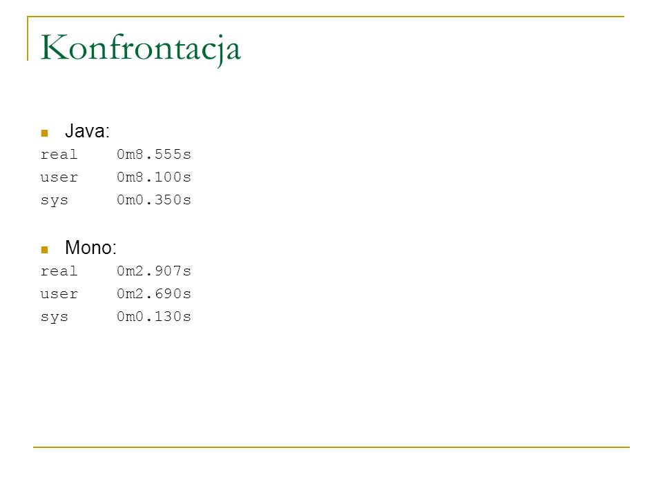Konfrontacja Java: Mono: real 0m8.555s user 0m8.100s sys 0m0.350s