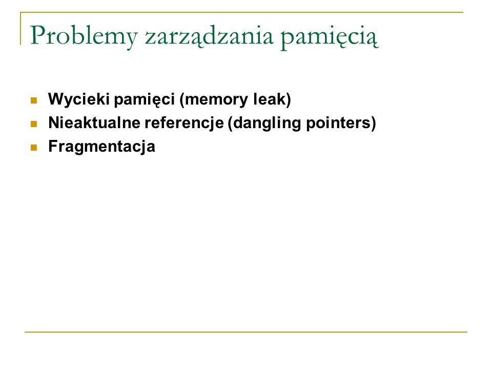 Problemy zarządzania pamięcią