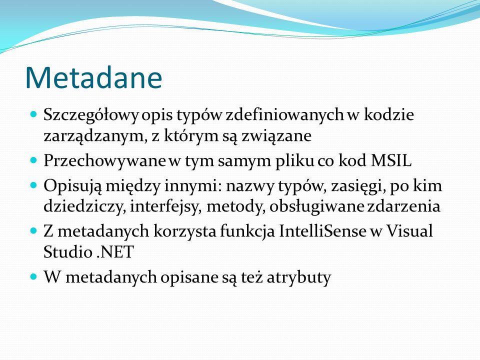 Metadane Szczegółowy opis typów zdefiniowanych w kodzie zarządzanym, z którym są związane. Przechowywane w tym samym pliku co kod MSIL.