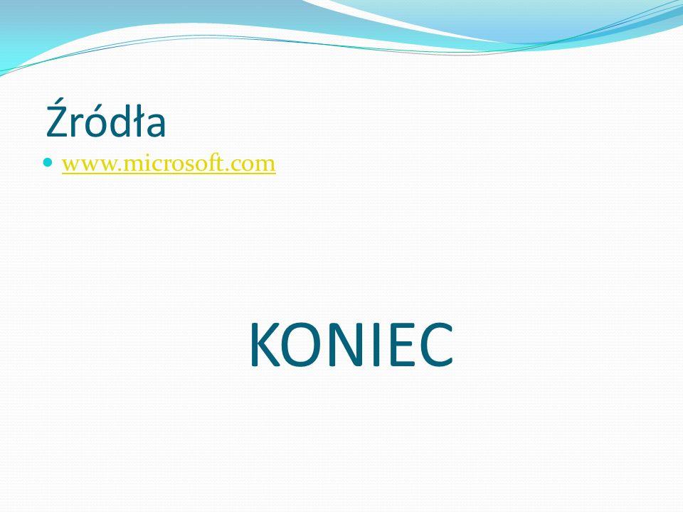 Źródła www.microsoft.com KONIEC