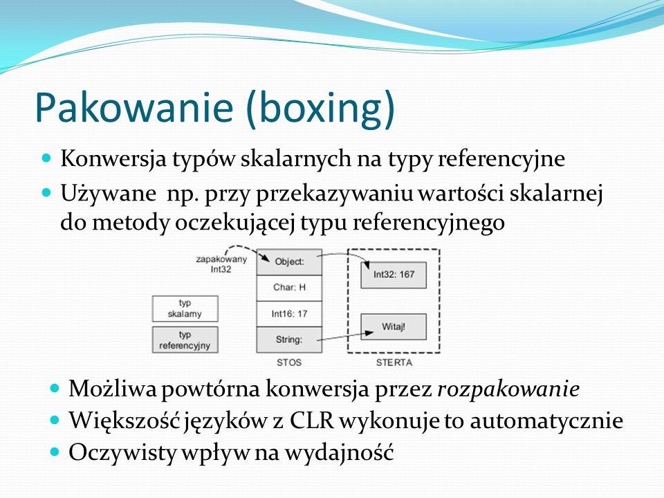 Pakowanie (boxing) Konwersja typów skalarnych na typy referencyjne