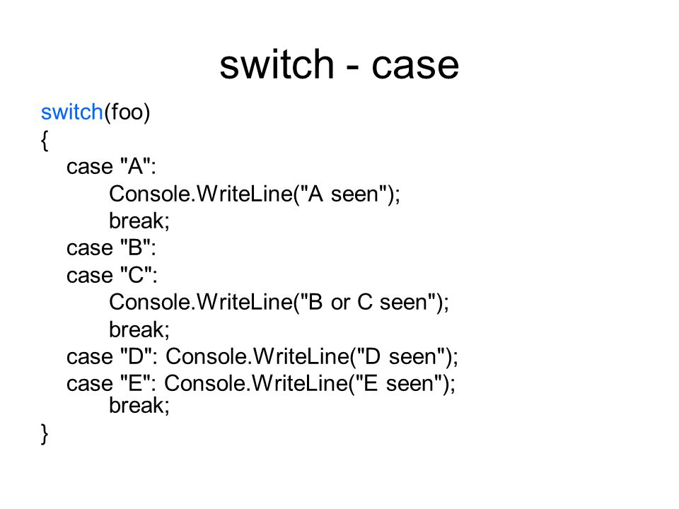 switch - case switch(foo) { case A : Console.WriteLine( A seen );