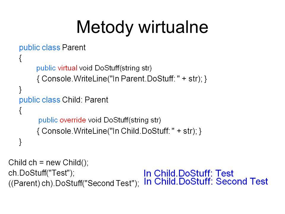 Metody wirtualne public class Parent { public void DoStuff(string str)