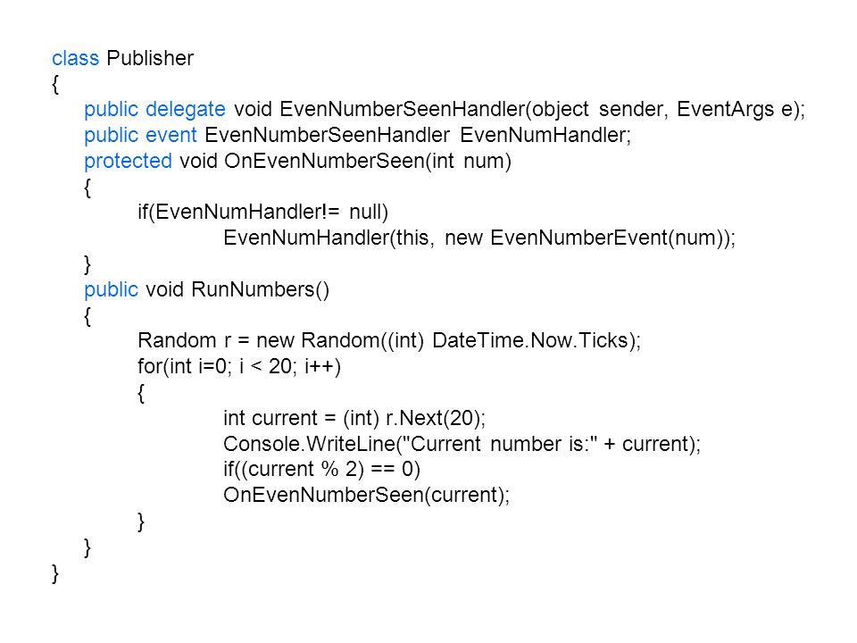 class Publisher{ public delegate void EvenNumberSeenHandler(object sender, EventArgs e); public event EvenNumberSeenHandler EvenNumHandler;