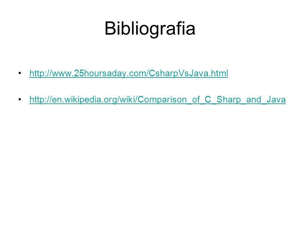 Bibliografia http://www.25hoursaday.com/CsharpVsJava.html