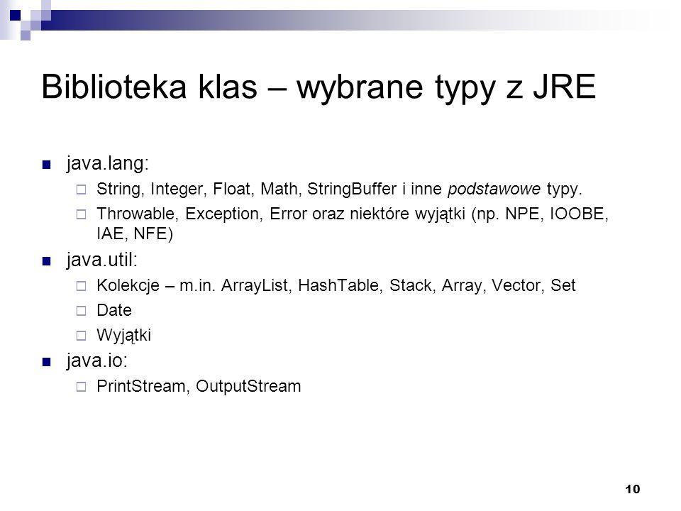 Biblioteka klas – wybrane typy z JRE