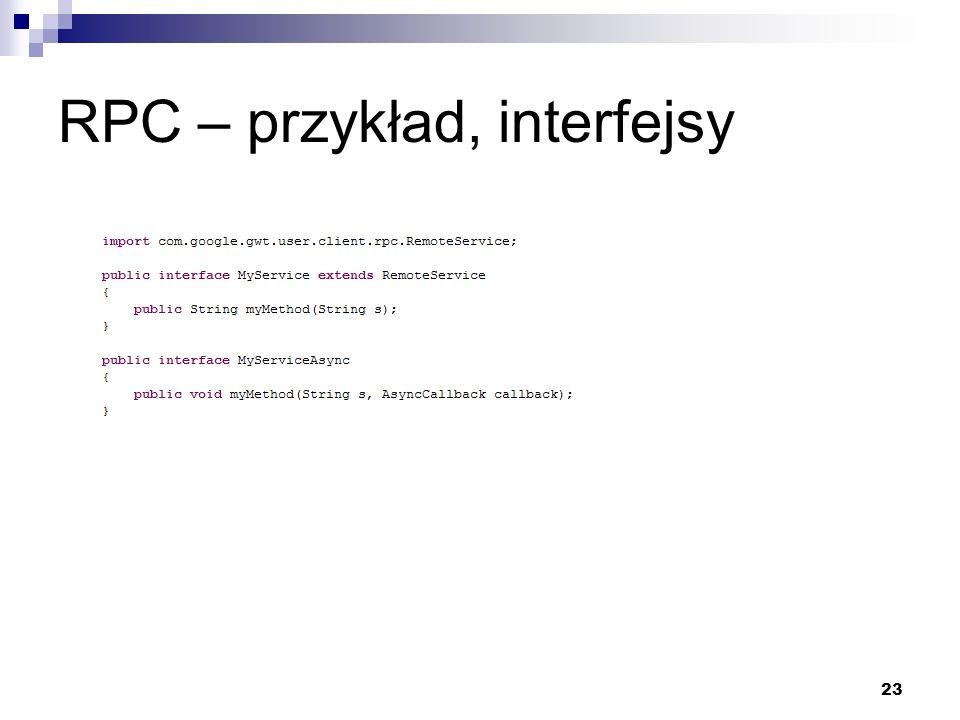RPC – przykład, interfejsy