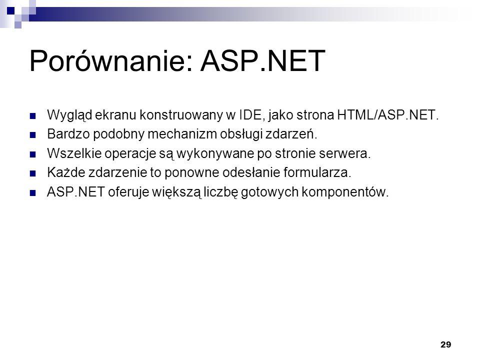 Porównanie: ASP.NET Wygląd ekranu konstruowany w IDE, jako strona HTML/ASP.NET. Bardzo podobny mechanizm obsługi zdarzeń.