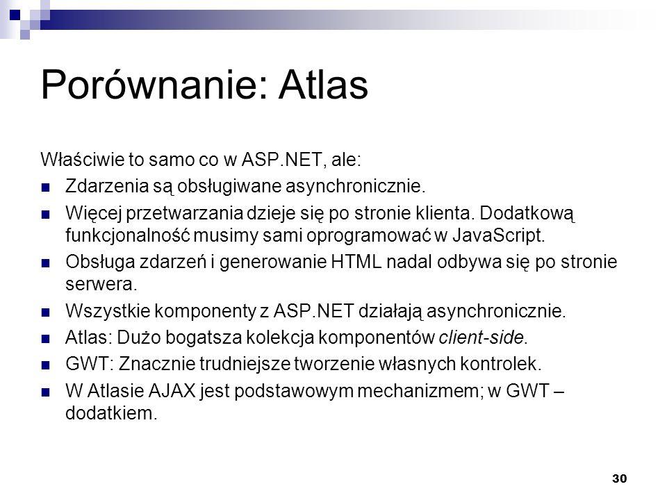Porównanie: Atlas Właściwie to samo co w ASP.NET, ale: