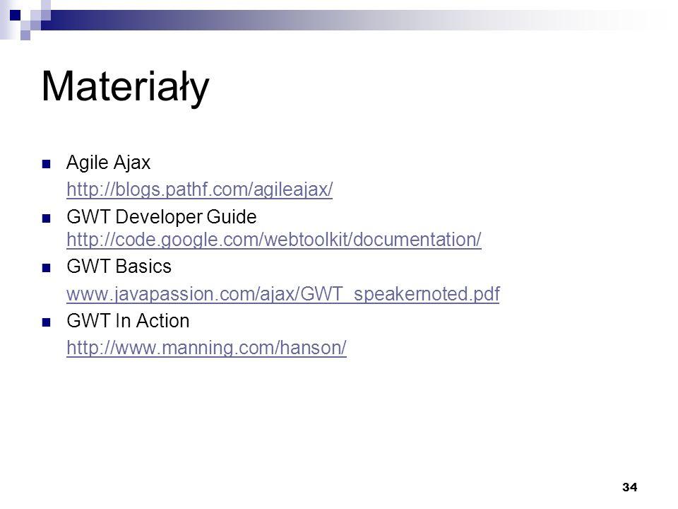 Materiały Agile Ajax http://blogs.pathf.com/agileajax/