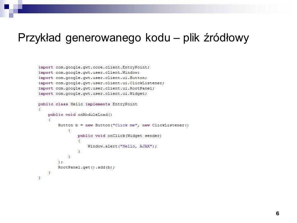 Przykład generowanego kodu – plik źródłowy