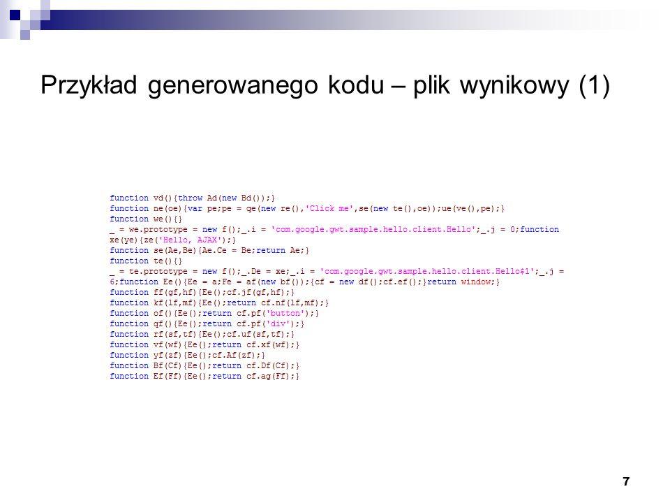 Przykład generowanego kodu – plik wynikowy (1)