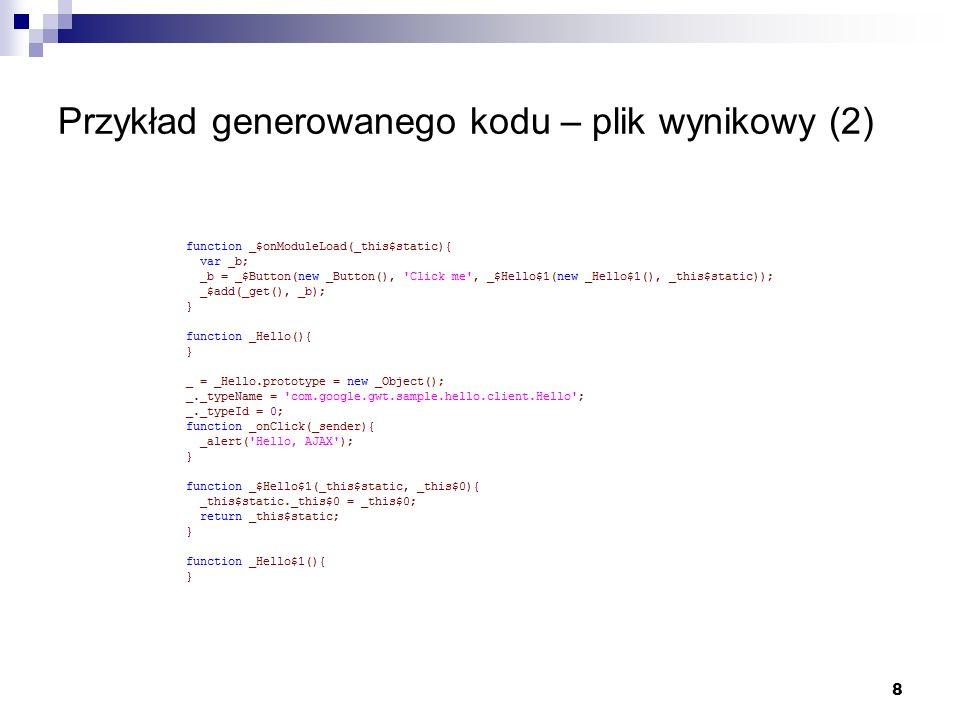 Przykład generowanego kodu – plik wynikowy (2)