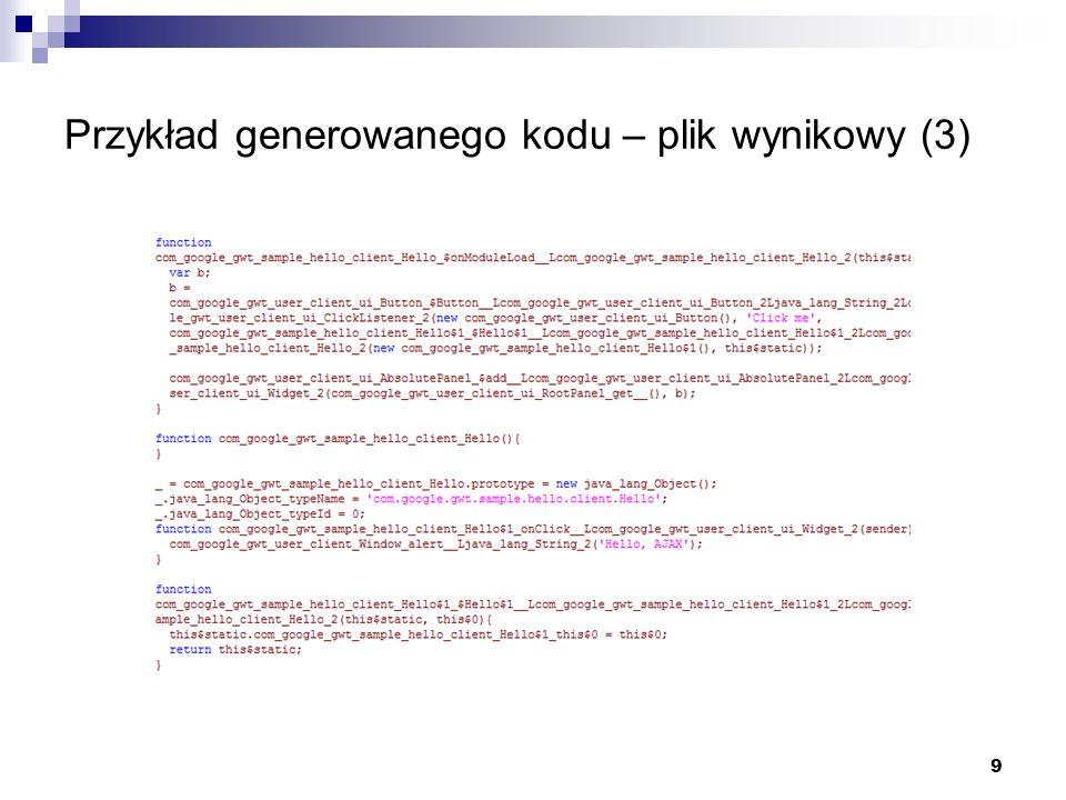 Przykład generowanego kodu – plik wynikowy (3)
