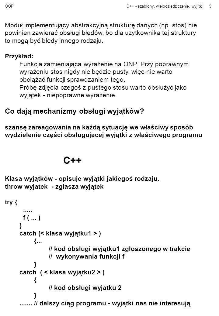 C++ Co dają mechanizmy obsługi wyjątków