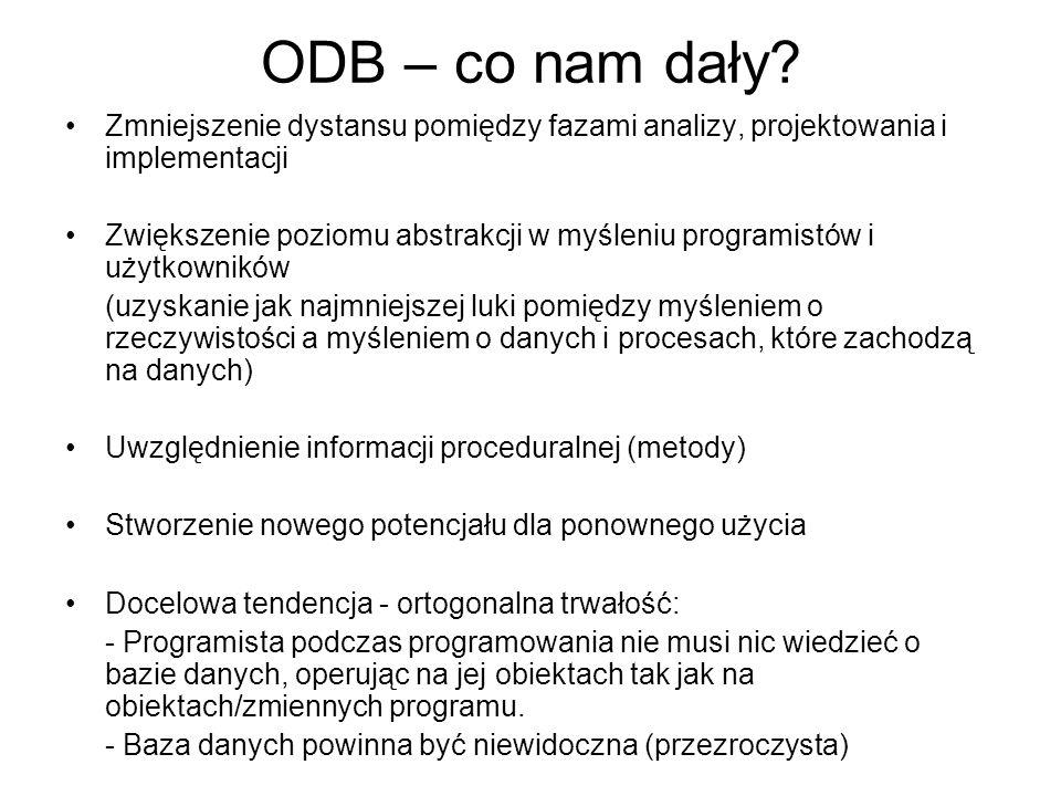 ODB – co nam dały Zmniejszenie dystansu pomiędzy fazami analizy, projektowania i implementacji.