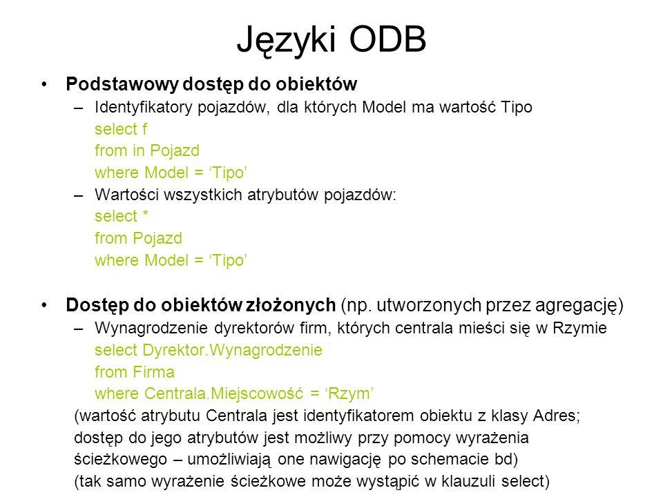 Języki ODB Podstawowy dostęp do obiektów