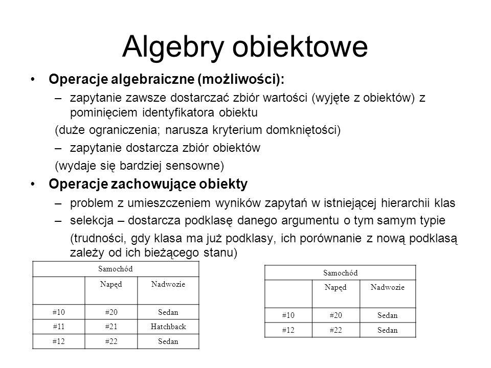 Algebry obiektowe Operacje algebraiczne (możliwości):