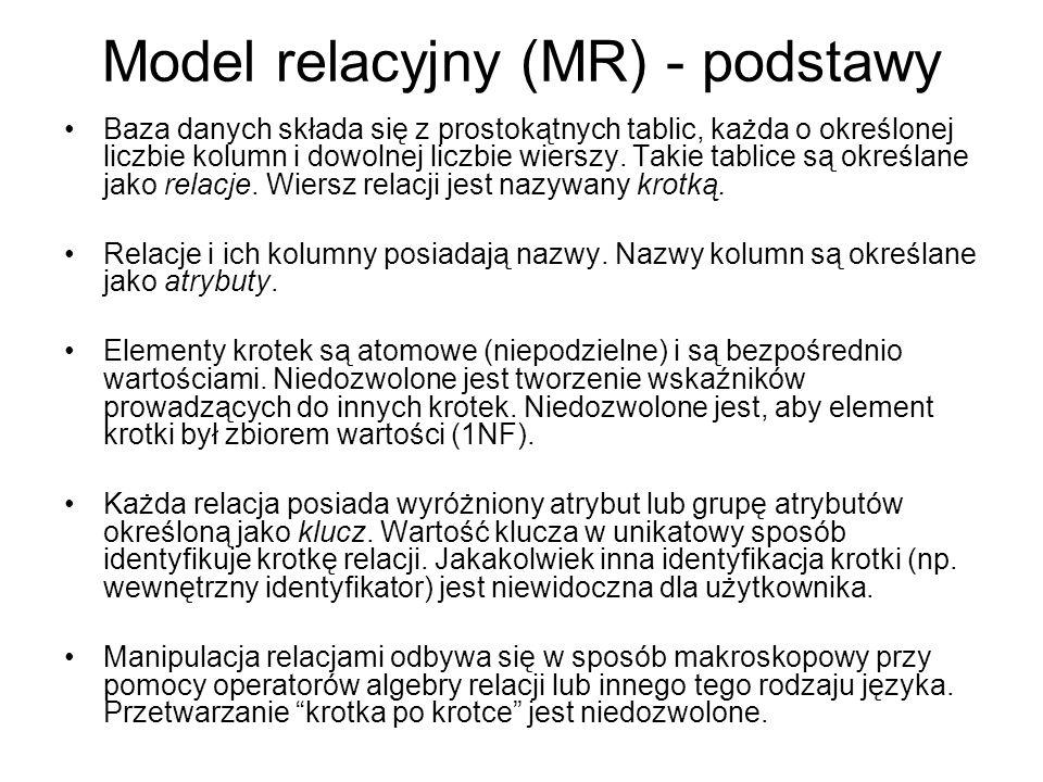 Model relacyjny (MR) - podstawy