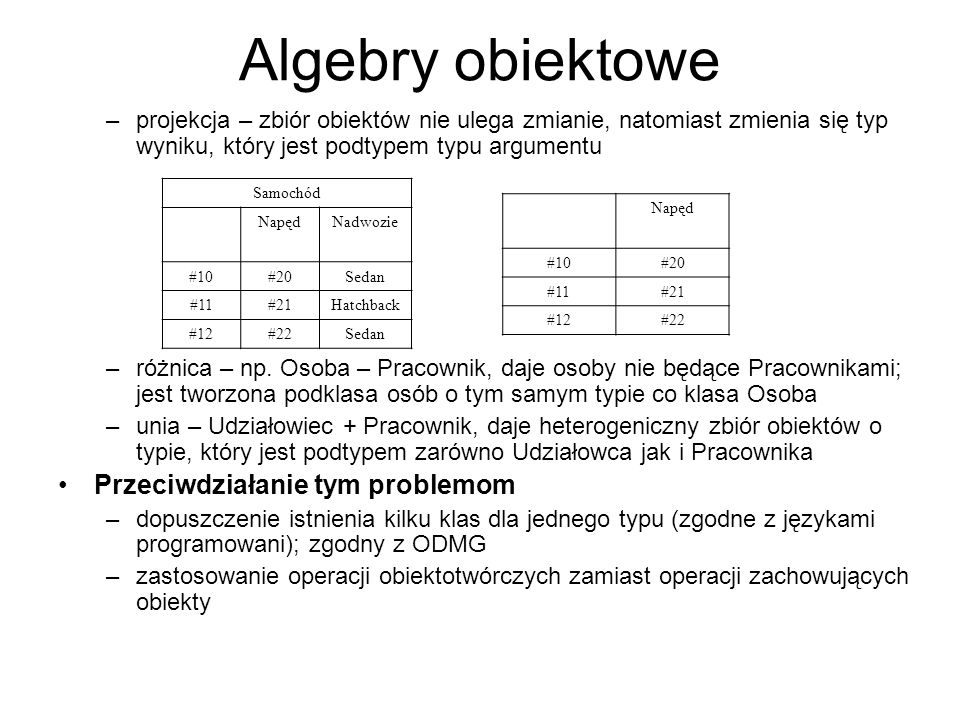 Algebry obiektowe Przeciwdziałanie tym problemom