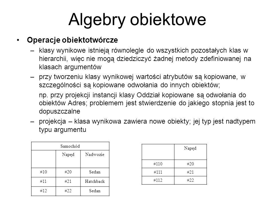 Algebry obiektowe Operacje obiektotwórcze