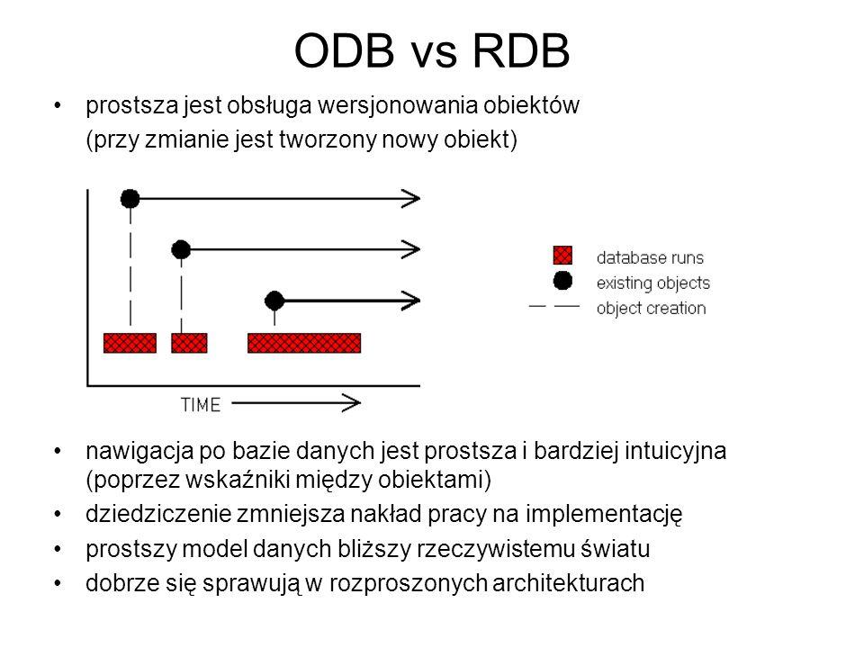 ODB vs RDB prostsza jest obsługa wersjonowania obiektów