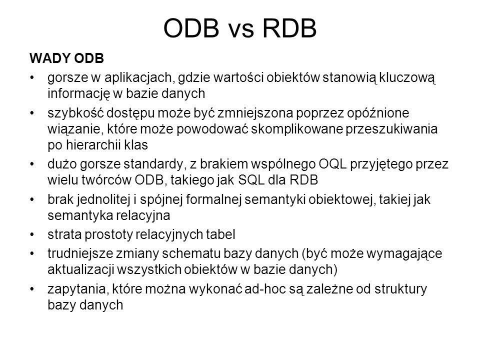 ODB vs RDB WADY ODB. gorsze w aplikacjach, gdzie wartości obiektów stanowią kluczową informację w bazie danych.