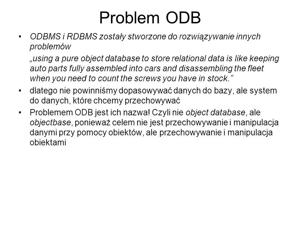 Problem ODB ODBMS i RDBMS zostały stworzone do rozwiązywanie innych problemów.