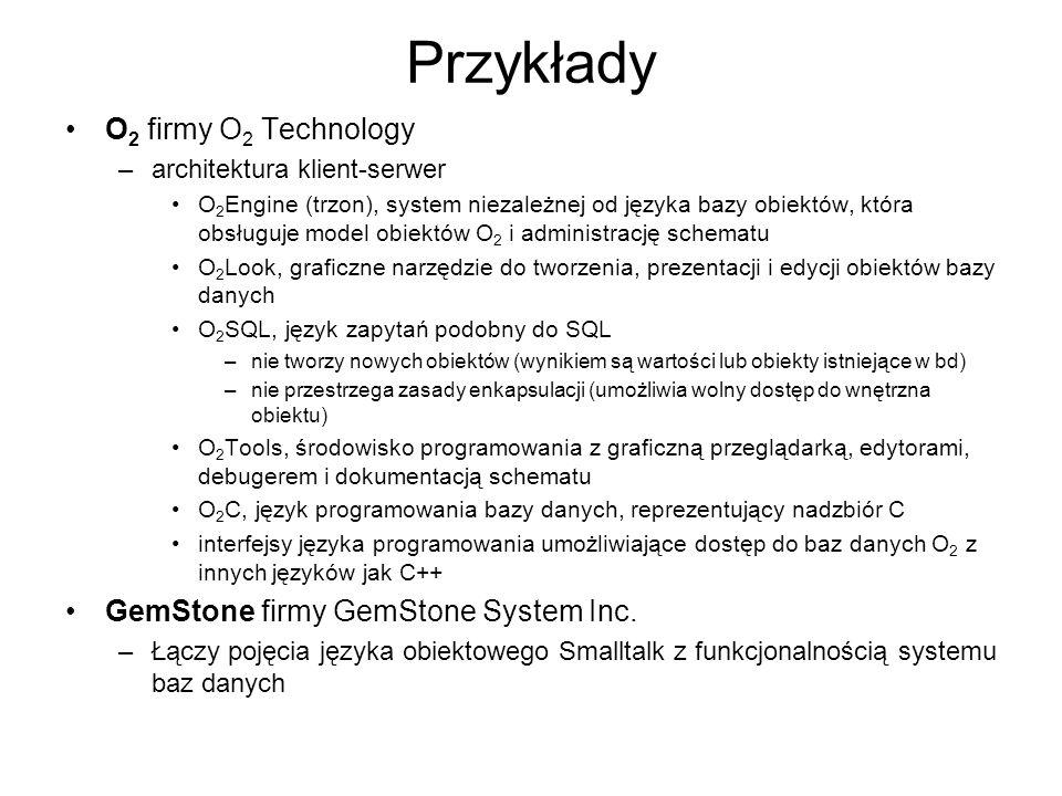 Przykłady O2 firmy O2 Technology GemStone firmy GemStone System Inc.