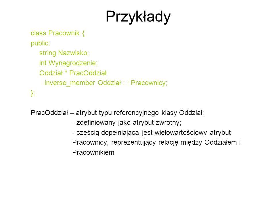 Przykłady class Pracownik { public: string Nazwisko;