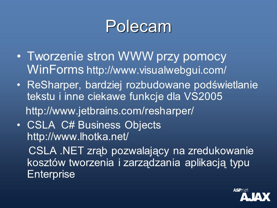 Polecam Tworzenie stron WWW przy pomocy WinForms http://www.visualwebgui.com/