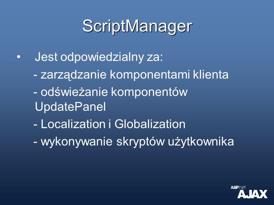 ScriptManager Jest odpowiedzialny za: