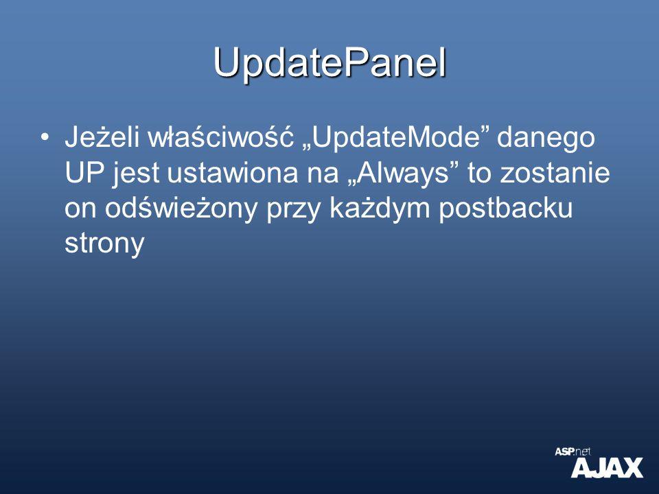 """UpdatePanel Jeżeli właściwość """"UpdateMode danego UP jest ustawiona na """"Always to zostanie on odświeżony przy każdym postbacku strony."""