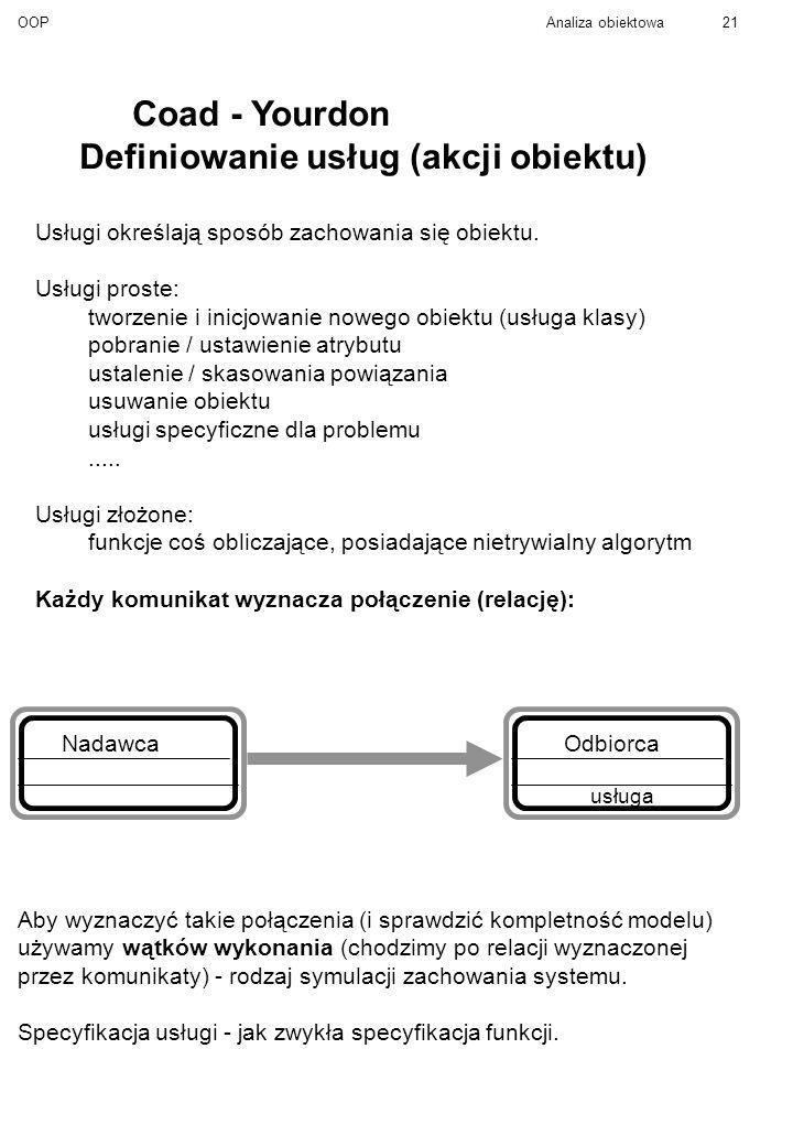 Definiowanie usług (akcji obiektu)