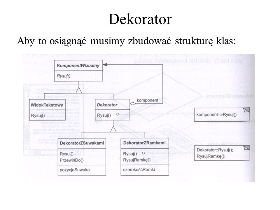 Dekorator Aby to osiągnąć musimy zbudować strukturę klas: