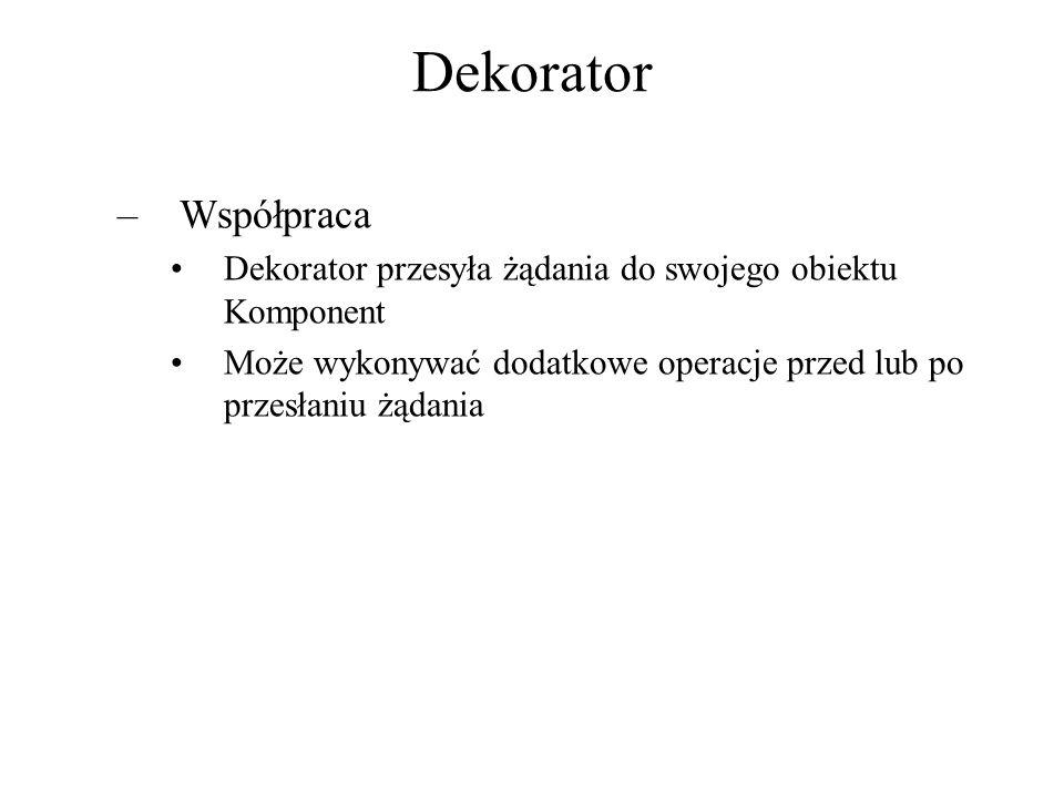 Dekorator Współpraca. Dekorator przesyła żądania do swojego obiektu Komponent.