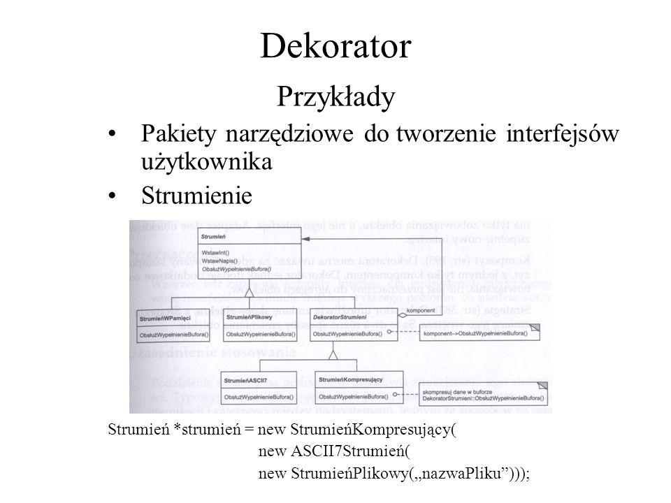 Dekorator Przykłady. Pakiety narzędziowe do tworzenie interfejsów użytkownika. Strumienie. Strumień *strumień = new StrumieńKompresujący(